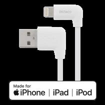 DELTACO apgaismojuma kabelis, 1m, 2.4A, leņķveida USB-A / zibens, balts