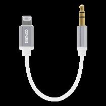 DELTACO 3-kontaktu 3,5 mm vīrietis - zibens adapteris, 0,13m, balts