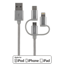 Phone cable STREETZ, USB-microUSB+Lightning+USB-C, 1.0m, silver / IPLH-585