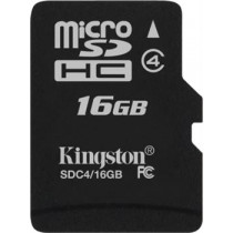 Kingston 16GB microSDHC 4. klases zibatmiņas kartes viena iepakojuma adapteris