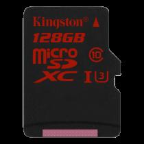 Memory card Kingston microSDXC 128GB, micro Secure Digital High-Capacity, UHS-I Class 3, 90MB/s/80MB/s / KING-2005