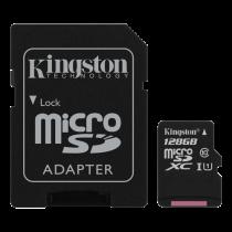 Memory card Kingston Canvas Select microSDXC, 128GB, Class 10 UHS-I, incl. SD card adapter, black SDCS/128GB / KING-2575