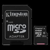 Memory card Kingston Canvas Select microSDXC, 64GB, Class 10 UHS-I, incl. SD card adapter, black SDCS/64GB / KING-2583