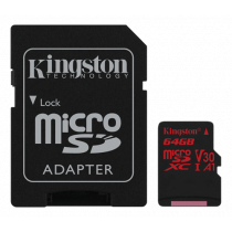Kingston Canvas React microSDXC card, 64GB, incl. SD card adapter, black SDCR/64GB / KING-2611