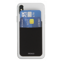 DELTACO Adhezīvs kredītkartes turētājs, 3M līme, melns