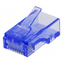 RJ45 connector for patch cable, Cat6, UTP (unshielded), 20-pack, trasparent DELTACO blue / MD-116