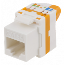 Cat6A Keystone jack, toolless, plastic DELTACO white/orange / MD-123