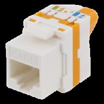 Cat6A Keystone jack, toolless, plastic DELTACO white/orange / MD-123