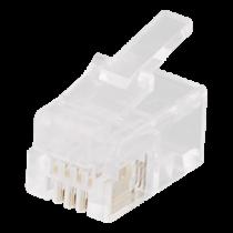Modular connector RJ9 / RJ10 / RJ22 4P4C, 20-pack, caurspīdīgs DELTACO / MD-1A