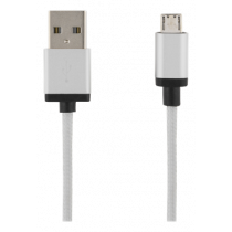 USB Sync/Charging Cable, braided, USB-A ma - USB Micro B ma, 1m, 2.4A, USB 2.0 DELTACO silver / MICRO-112F