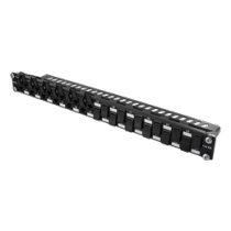 "DELTACO UTP patch panel, 24xRJ45, Cat6a, 10Gbps, 24x keystone connectors, 1U, 19 "", metal, black  / PAN-202"