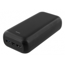 DELTACO 30 000 mAh Power banka, USB-C, 2x USB-A, 2.1A, LED indikators, b