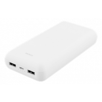 DELTACO 20 000 mAh Power banka, 2x USB-A, 2.1A, LED indikators, balts
