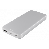 DELTACO 10.000 mAh Li-Po Power Bank with USB-C, silver / PB-831