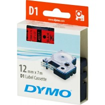 Tape DYMO D1 12mm x 7m, vinyl, black on red / S0720570 45017