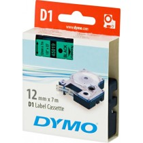 Tape DYMO D1 12mm x 7m, vinyl, black on green / S0720590 45019