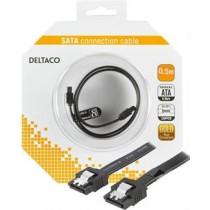 SATA vads DELTACO 0.5m, melns/SATA-1001-K