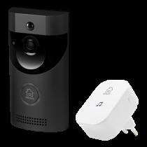 DELTACO SMART HOME durvju zvans ar kameru, WiFi, IP44, IR, melns
