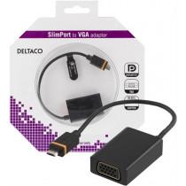 DELTACO Slim port to VGA adapter, USB Micro B ha - VGA ho, black k / SLIM-1004-K