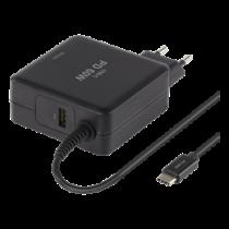 DELTACO 60W USB-C Laptop Charger, 2x USB-A, PD, 3A, Black /SMP-USBC60PD