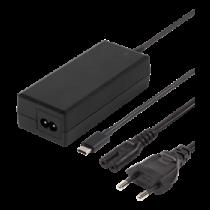DELTACO 65W USB-C klēpjdatoru lādētājs, 2m, USB-PD, melns