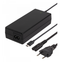 DELTACO 87W USB-C klēpjdatoru lādētājs, 2m, USB-C PD, melns