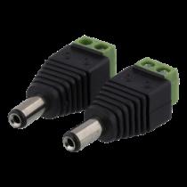 2-pin Terminal block to 5.5 DC, 2-Pack, Screw fix, 5.5 DC male DELTACO black / TBL-1006