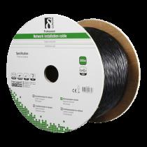 Instalācijas kabelis DELTACO S / FTP Cat6a, paredzēts lietošanai ārpus telpām, 305m, melns
