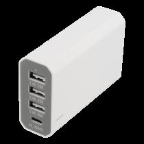 Charging station DELTACO 1xUSB-C, 3xUSB, white / USB-AC142