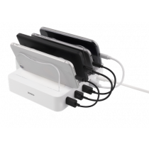 DELTACO USB charging station, 4x USB-A ports, 5V DC, 6.8A, 34W, 1.5m cable, white / USB-AC155