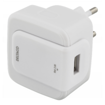 Wall charger DELTACO 100-240V, 2.4A, 12W, 1xUSB-A, white / USB-AC157