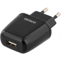 Wall charger DELTACO 2.4A, black / USB-AC59