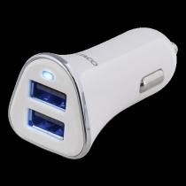 Car charger DELTACO 3,4A, 2xUSB, white/silver / USB-CAR101