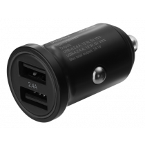 Automašīnas lādētājs DELTACO 12/24 V USB ar divām USB-A pieslēgvietām, 24 W, melns