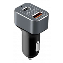 Car charger DELTACOIMP USB Type-C, 45W, Double Ports, QC 3.0, black / USB-CAR78