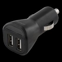 Auto lādētājs DELTACO, 2.4A, 2xUSB, melns/ USB-CAR95