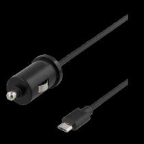 Auto lādētājs DELTACO, micro USB, 2.4A, 1.0m vads, melns/ USB-CAR97