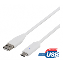 DELTACO USB 2.0 kabelis, tips C - A tips, 0,25 m, balts