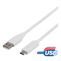 DELTACO USB 2.0 kabelis, tips C - A tips, 0,5 m, balts