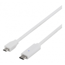 DELTACO USB 2.0 kabelis, tips C - tips Micro B ma, 1,5 m, balts