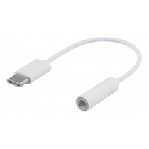 DELTACO USB-C līdz 3,5 mm adapteris, stereo, 10cm, balts