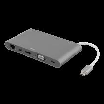 Dock station DELTACO USB-C, HDMI, 3xUSB-A, 0.1m cable, silver / USBC-1275