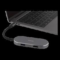 DELTACO USB-C dokstacija, 100W USB-C PD, USB 3.1, 4K HDMI, sudrabs USBC-1292