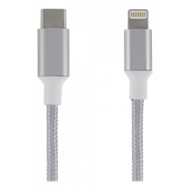 USB-C for Lightning cable, 0.5m, cloth-clad cable, silver EPZI / USBC-1311