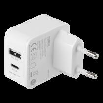 DELTACO Dual USB sienas lādētājs 1x USB-A, 1x USB-C, 17 W, balts