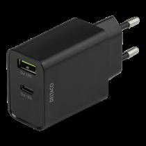 DELTACO divējāds USB sienas lādētājs ar PD, 1x USB-A, 1x USB-C, 18 W, melns