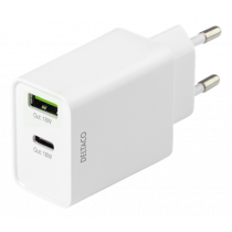 DELTACO divējāds USB sienas lādētājs ar PD, 1x USB-A, 1x USB-C, 18 W, balts