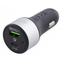 Car Charger DELTACO , USB-C, 36W, USB-C PD, QC 3.0, 12-18V DC, Black / USBC-CAR112