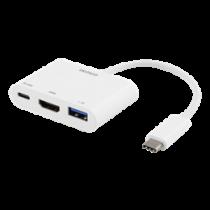 DELTACO USB-C dokstacija, HDMI / USB-A / USB-C, 60W USB-C PD, balta