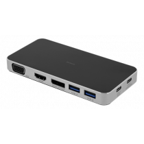 DELTACO USB-C dokstacija, 3x USB-C, 2x USB-A 3.1, VGA, HDMI, Melns